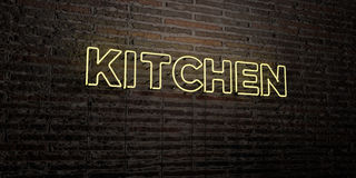 KITCHEN -Realistic Neon Sign on Brick Wall background - 3D rendered royalty free stock image Royalty Free Stock Photography