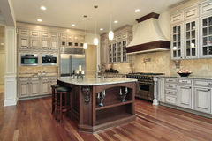 Kitchen with rectangular island Stock Photos