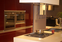 Kitchen red. Modern red kitchen in interior Royalty Free Stock Images