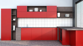 Kitchen in red with blinds Royalty Free Stock Image