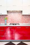 Kitchen red and white Royalty Free Stock Photo