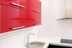 Kitchen in red and white colors Stock Photo