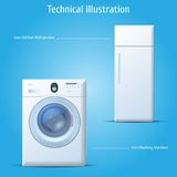 Kitchen refrigerator and washing machine. Vector icons kitchen refrigerator and washing machine Stock Images