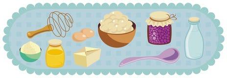 Kitchen Related Retro Set royalty free illustration