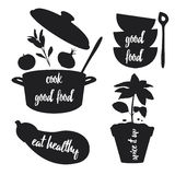 Kitchen related silhouettes with text Stock Images