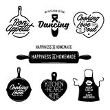 Kitchen related typography set. Quotes about cooking. Vintage vector illustration. Stock Photography