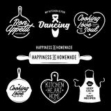 Kitchen related typography set. Quotes about cooking. Vintage vector illustration. Royalty Free Stock Photos