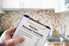 Kitchen remodel estimate. Cost of renovation. Clipboard with Kitchen remodel estimate. Cost of renovation royalty free stock photography