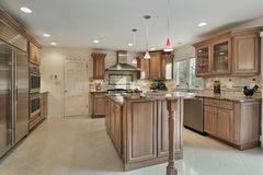 Kitchen in remodeled home. With wood cabinetry Royalty Free Stock Photo