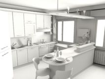 Kitchen render. 3D render on gray of a modern kitchen Stock Images