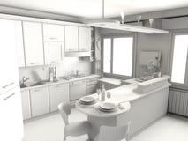 Kitchen render. 3D render on gray of a modern kitchen vector illustration