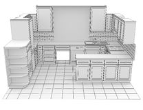 Kitchen rendered by lines Stock Images