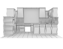 Kitchen rendered by lines Royalty Free Stock Photo