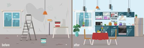 Kitchen before and after repair. Home interior renovation. Vector flat illustration stock illustration