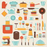 Kitchen and restaurant icon set of utensils Royalty Free Stock Images