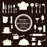 Kitchen and restaurant icons. Set of utensils Stock Photography