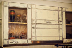 Kitchen retro cabinets Royalty Free Stock Photo