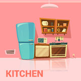 Kitchen Retro Design. With fridge microwave oven and cooker cartoon vector illustration Royalty Free Stock Photography
