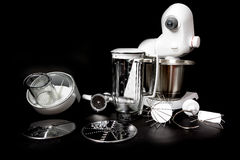 Kitchen robot with complete equipment closeup Royalty Free Stock Photos