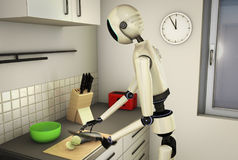 Kitchen robot. A robot makes the food in the kitchen stock illustration