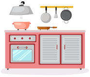 Kitchen room. Illustration of isolated kitchen room on white background Royalty Free Stock Photos