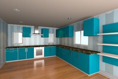 Kitchen room with blue wallpaper Stock Photos