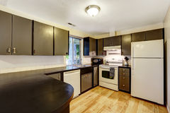 Kitchen room in contrast white and black colors Stock Photo