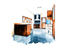 Kitchen room design of watercolor painting Royalty Free Stock Photo