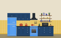 Kitchen room for food cooking interior with stove or oven Stock Photography