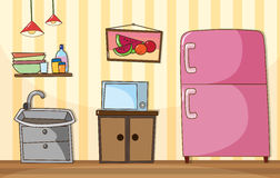Kitchen room with full furnished Stock Image