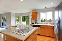Kitchen room with granite top island Royalty Free Stock Photo