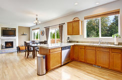 Kitchen room with granite tops and honey tone cabinets Stock Image