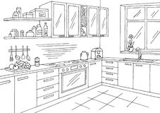 Kitchen room graphic black white interior sketch illustration vector Royalty Free Stock Photography