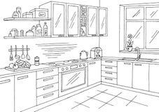 Kitchen room graphic black white interior sketch illustration vector. Kitchen room graphic black white interior sketch illustration Royalty Free Stock Photography
