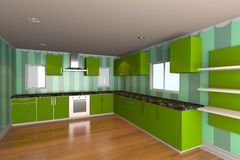 Kitchen room with green wallpaper Stock Photography