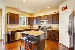 Kitchen room interior with deep brown cabinets, hardwood floor Royalty Free Stock Photography