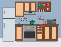 Kitchen room interior flat vector illustration. Kitchen with furniture and appliances, worktop, microwave, refrigerator, oven, cooker, extractor fan. The stock illustration