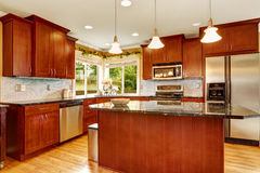 Kitchen room interior with island Stock Image