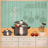 Kitchen room interior.Retro card on old paper Stock Images