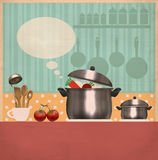 Kitchen room interior.Retro cooking card on old paper Stock Photos