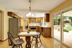 KItchen room interior with stainless steel and hardwood floor. Stock Image