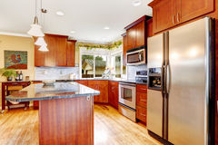 Kitchen room interior with steel refrigerator Stock Photography