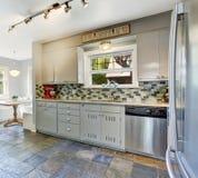 Kitchen room interior with tile back splash trim Royalty Free Stock Image