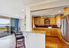 Kitchen room interior with walkout deck Royalty Free Stock Images