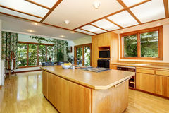 Kitchen room interior with wooden cabinets, island and hardwood floor. Northwest, USA Royalty Free Stock Photography