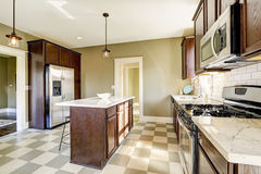 Kitchen room with marble tops stock images
