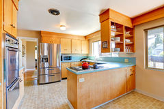 Kitchen room with mint tops and steel appliances Stock Image