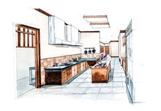 Kitchen room for restaurant design of watercolor painting Stock Image