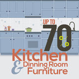 Kitchen Room Sale Up to 70 Percent Banner. Kitchen Room Sale Up to 70 Percent Banner Vector Illustration Stock Photos