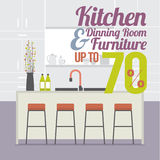 Kitchen Room Sale Up to 70 Percent Banner. Kitchen Room Sale Up to 70 Percent Banner Vector Illustration Stock Image